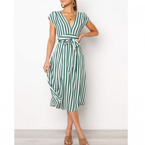 Deep V-neck Striped Lace Up Midi Dresses Women Casual Sleeveless A-line Dress Summer Ladies Fashion Party Dress Vestidos New