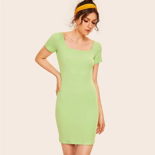 Solid Short Sleeve Slim Mini Dresses Women Casual Simple Bodycon Dress Summer Vintage Green Ladies Fashion Elegant Dress New