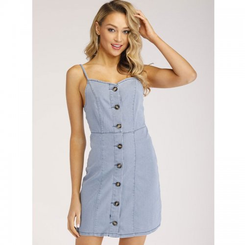 Solid Spaghetti Strap Button Denim Dresses Women Casual Backless Mini Summer Dress Ladies Fashion Vintage Jean Dress Vestidos
