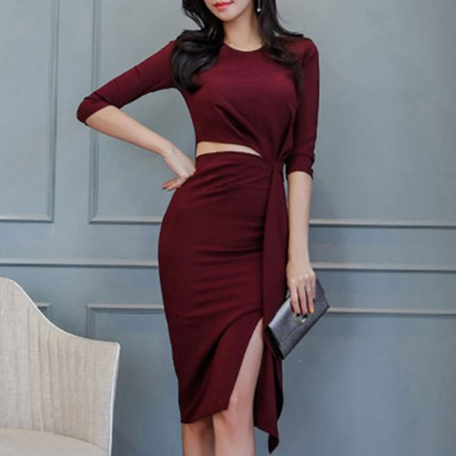 Sexy Hollow Out Irregular Slim Pencil Dress Women Vintage Solid Split Hem Dresses Spring Ladies Sexy Elegant Dress High Quality