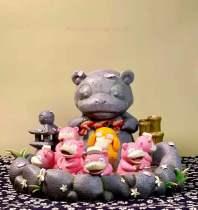 【In Stock】Pc House Pokemon Slowpoke in Hot Spring Resin Statue