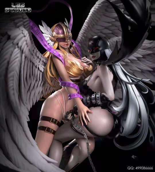 【Pre order】LESstudio Digital Monster Angewomon & Lady Devimon Resin Statue Deposit